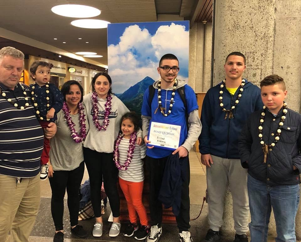 Riyad is pictured here with his family as they leave for his Make-A-Wish® trip to Hawaii, a trip of a lifetime!
